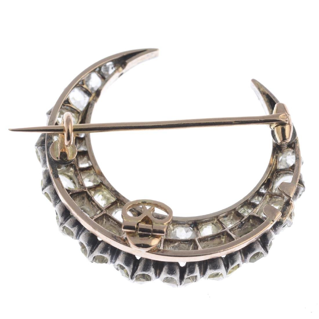 A late Victorian silver and gold diamond brooch. - 2