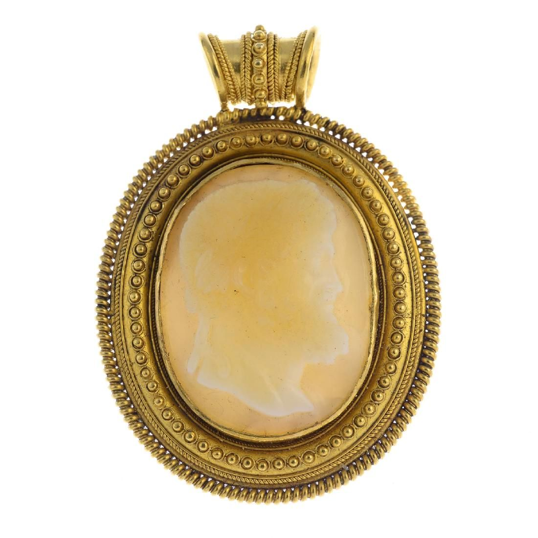 A Victorian 18ct gold agate cameo pendant. The oval