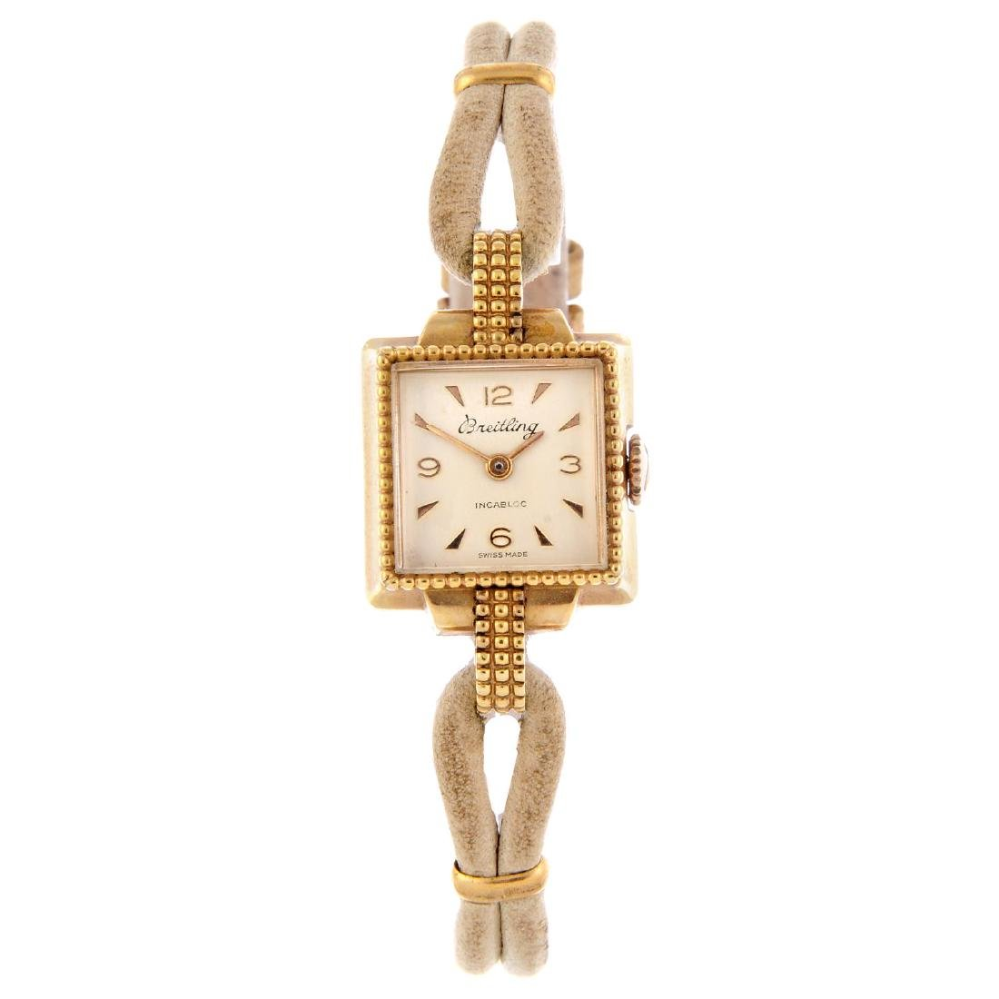BREITLING - a lady's bracelet watch. Gold plated case