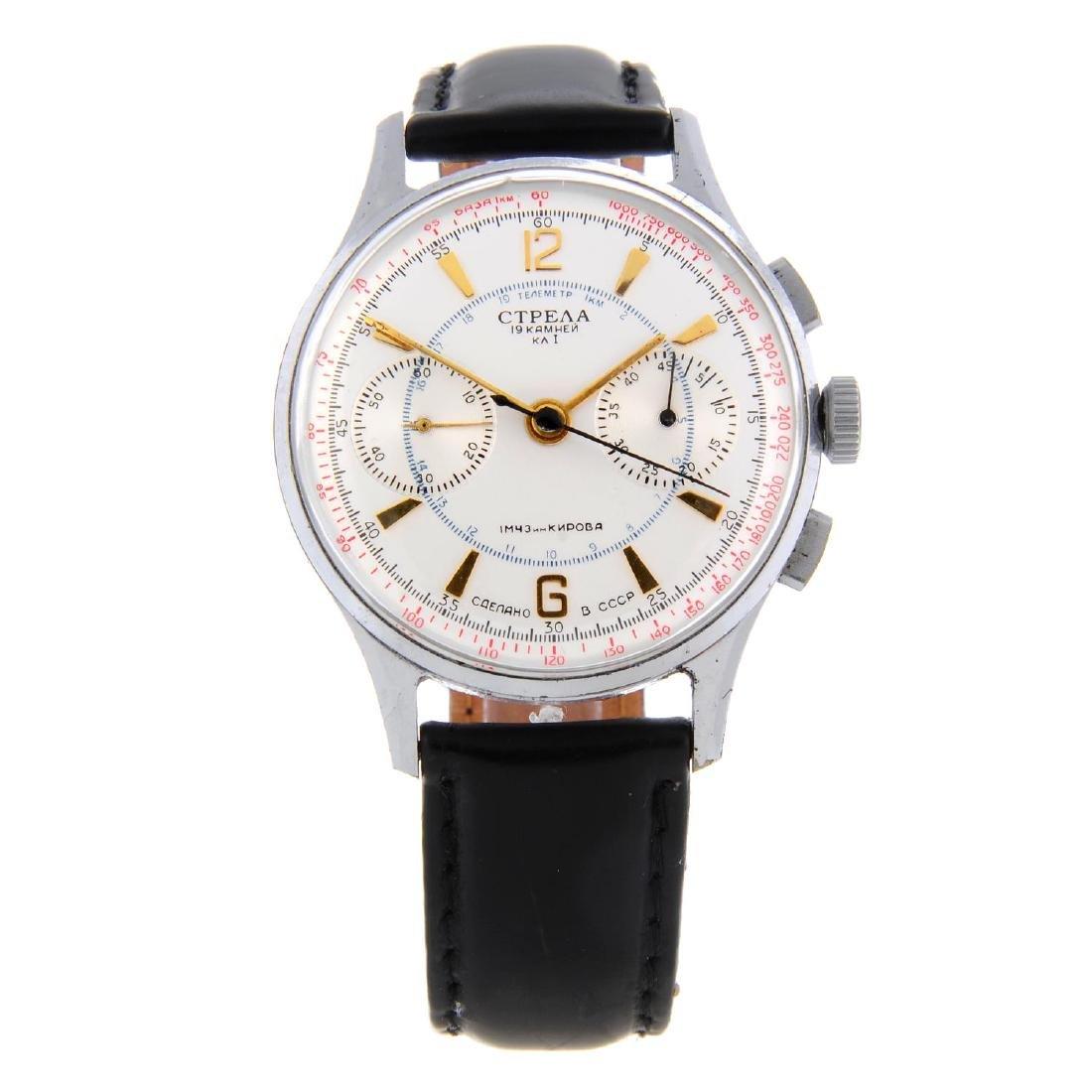 STRELA - a gentleman's chronograph wrist watch. Nickel