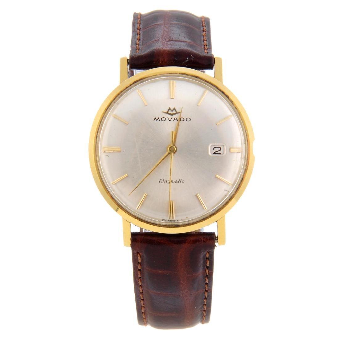 MOVADO - a gentleman's Kingmatic wrist watch. Yellow