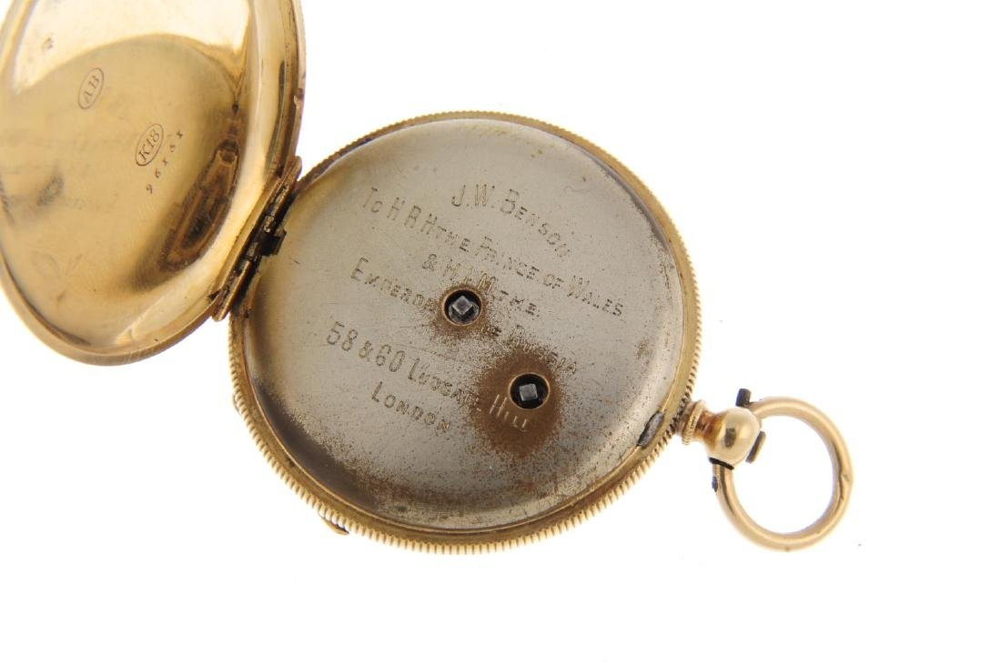 An open face pocket watch. Yellow metal case, stamped - 3
