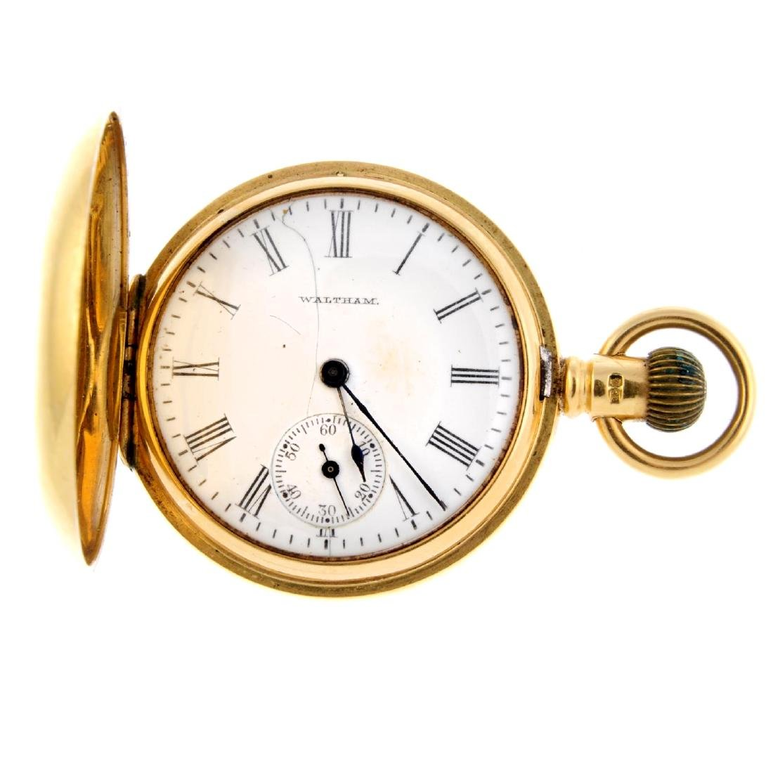 A full hunter pocket watch by Waltham. 18ct yellow gold