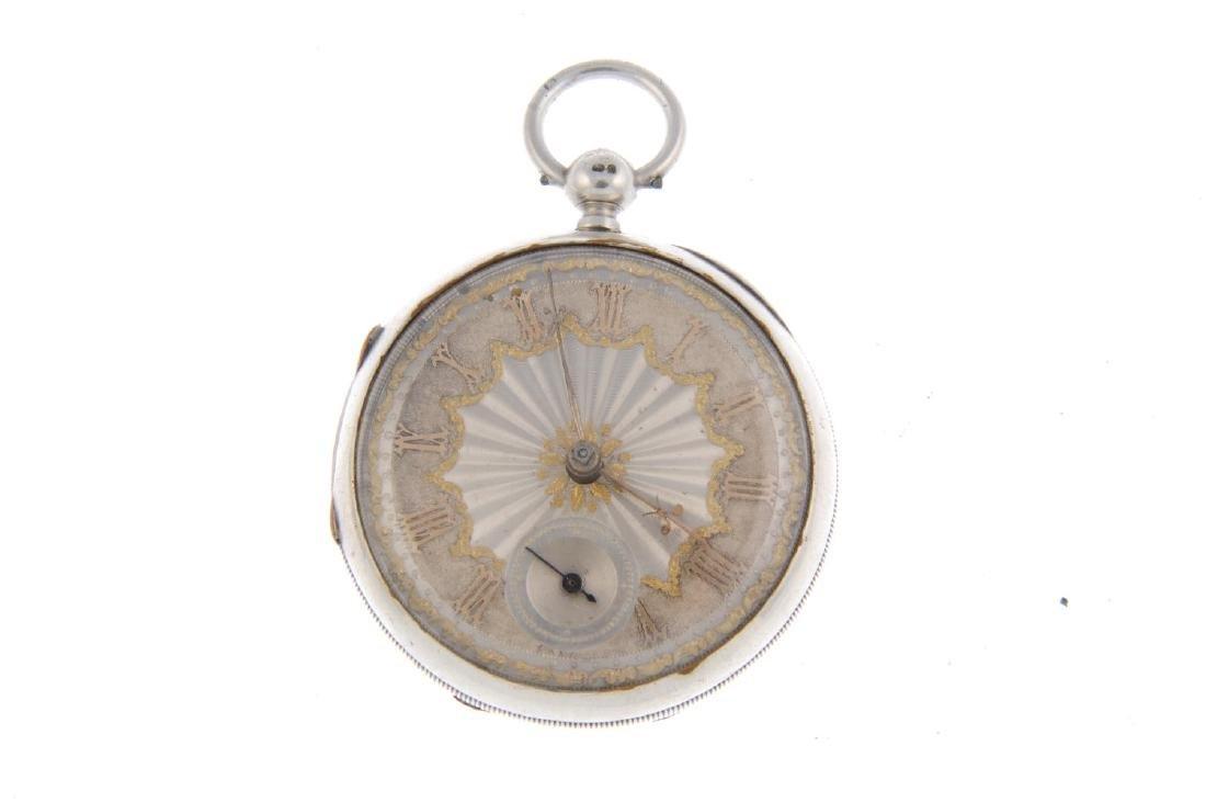 An open face pocket watch. Silver case, hallmarked - 2
