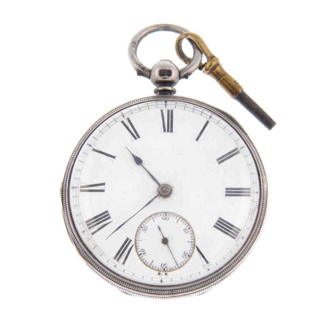 An open face pocket watch. Silver case, hallmarked