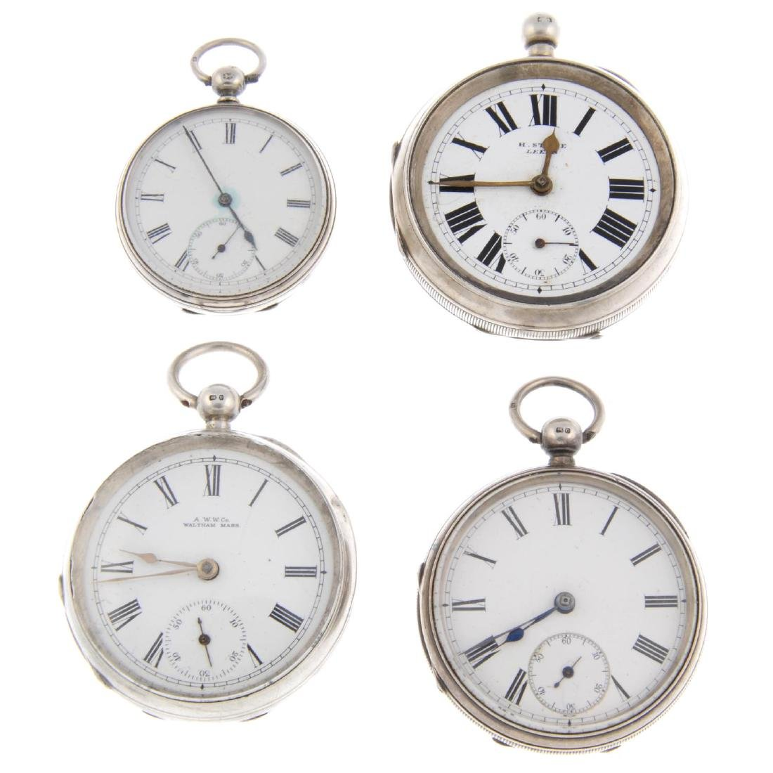 A group of four assorted silver pocket watches. All