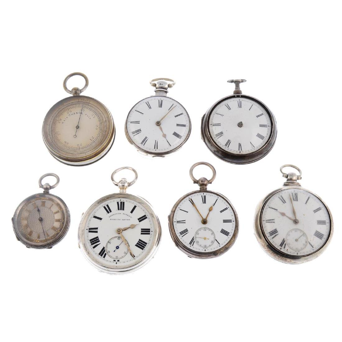 A group of six assorted pocket watches and a pocket