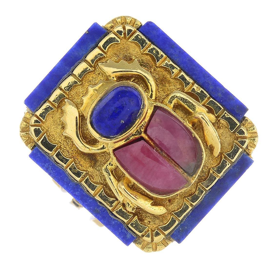 A lapis lazuli and rhodochrosite dress ring. Designed