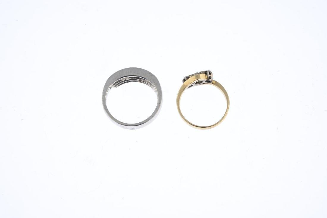 Two diamond and gem-set rings. To include a - 2