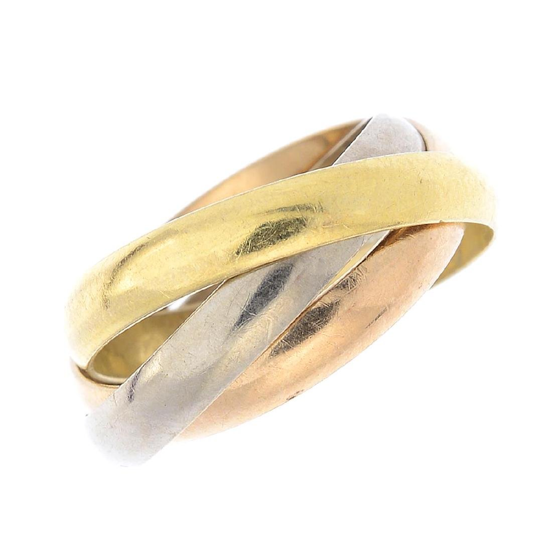 CARTIER - an 18ct gold 'Trinity' ring. Designed as