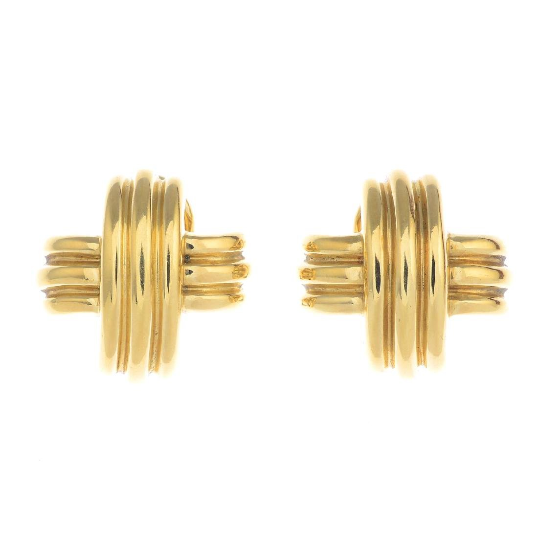TIFFANY & Co. - a pair of cross earrings. Each designed