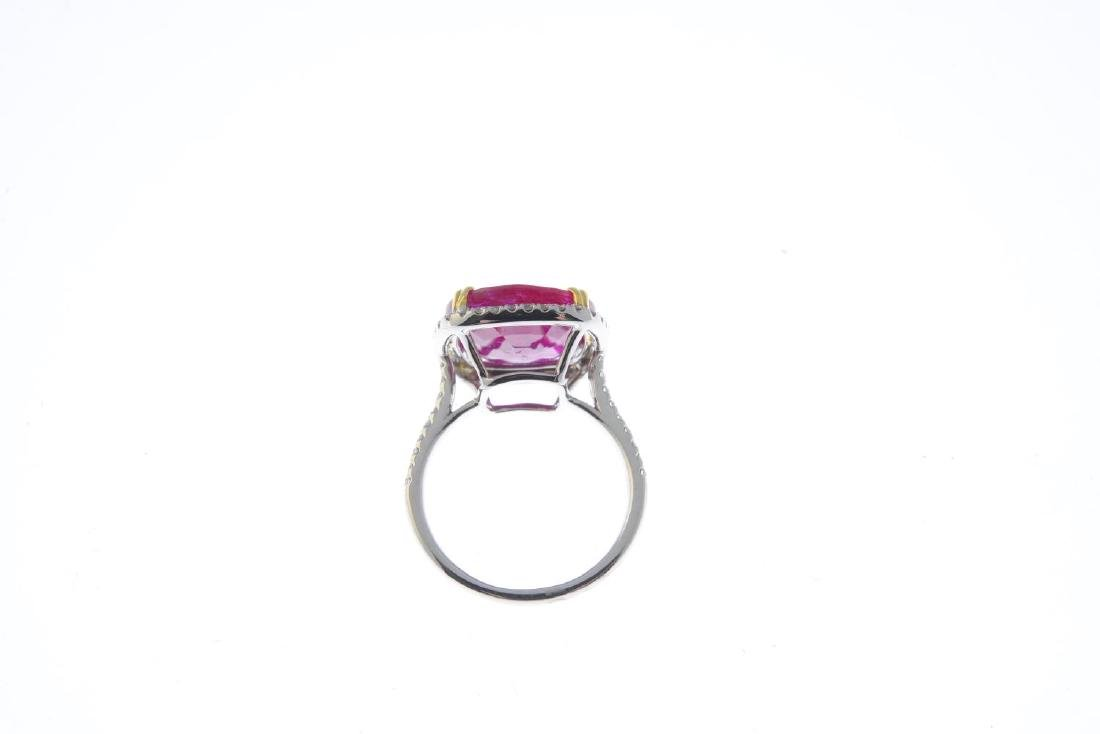 A ruby and diamond cluster ring. The cushion-shape - 2
