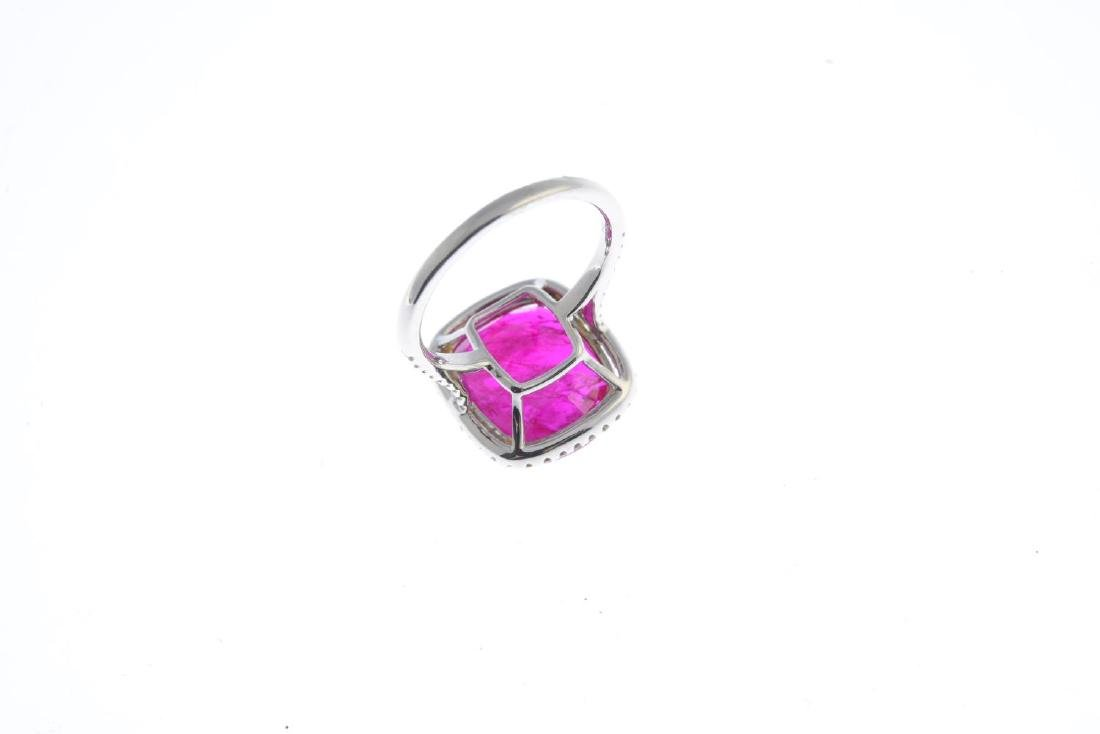 A ruby and diamond cluster ring. The cushion-shape - 3