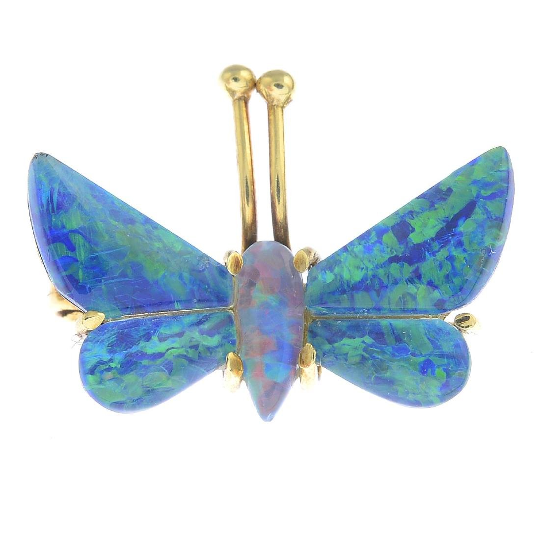 An opal triplet butterfly brooch. Designed as a pear