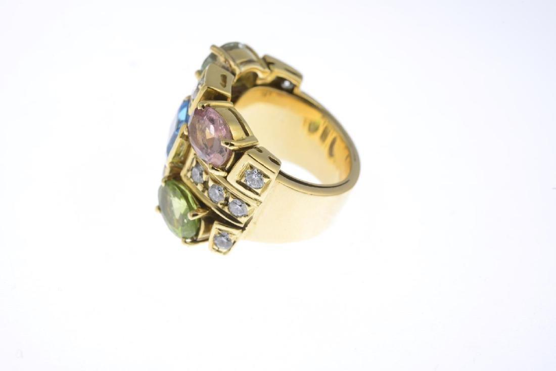 A diamond and gem-set dress ring. Designed as a - 2