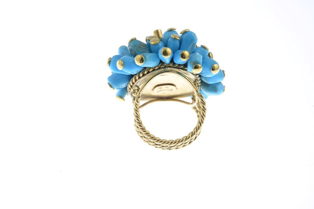 A turquoise and diamond dress ring. Designed as a - 3
