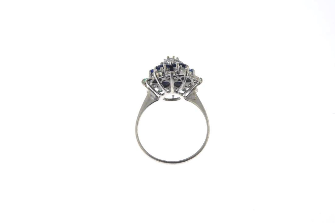 A sapphire, emerald and diamond dress ring. The - 2