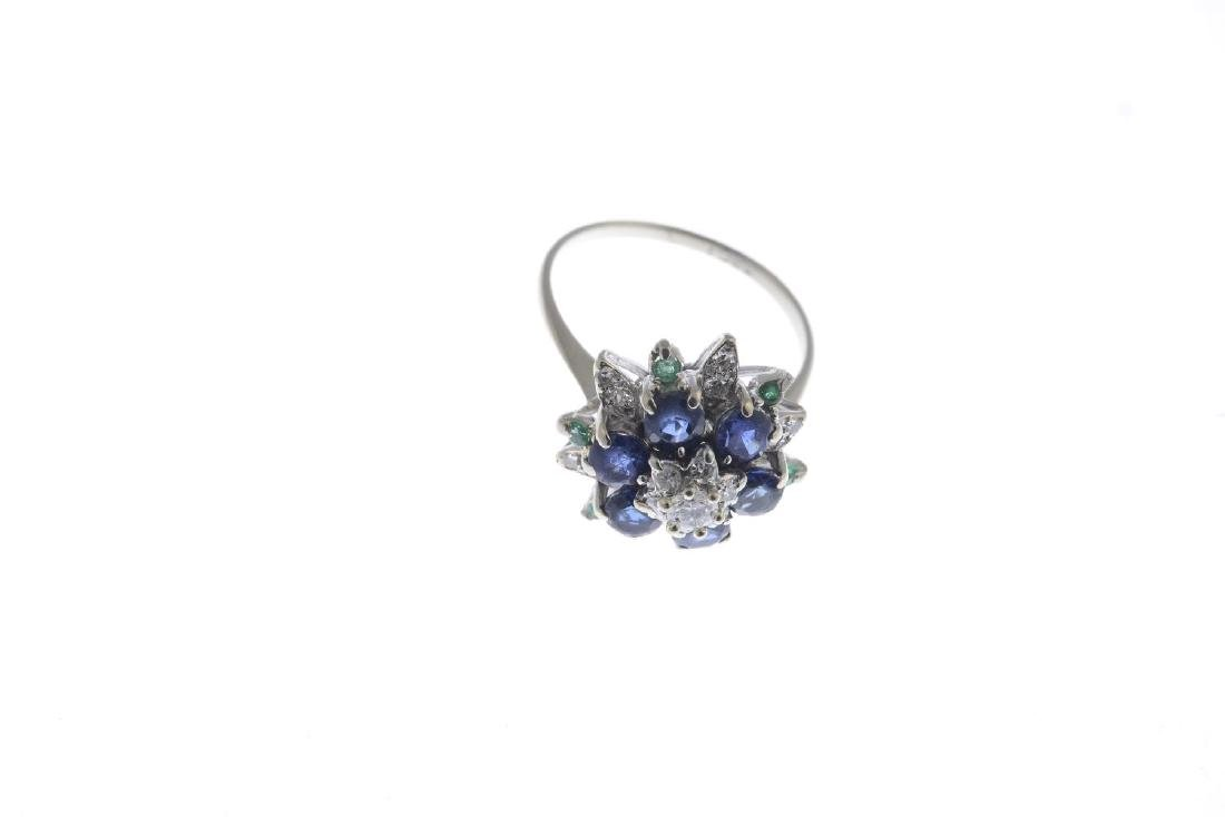 A sapphire, emerald and diamond dress ring. The - 3