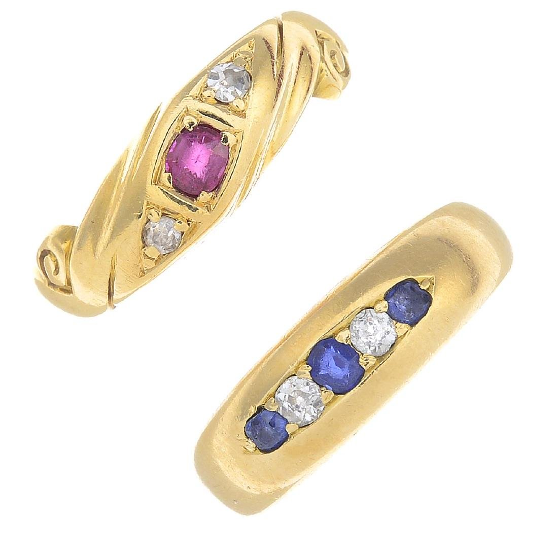 Two diamond and gem-set rings. To include a