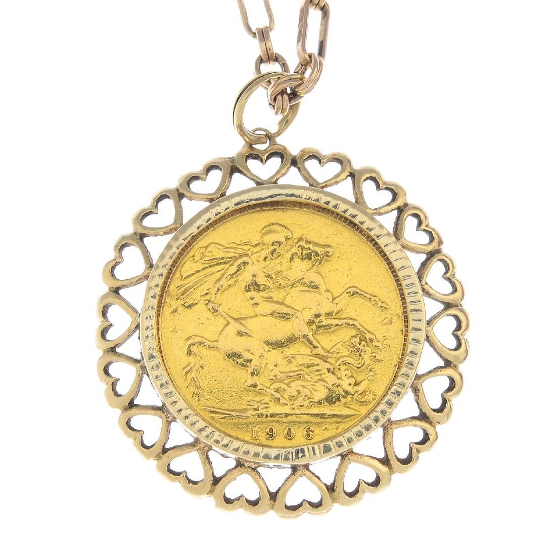 (22426) A sovereign pendant. The full sovereign coin,