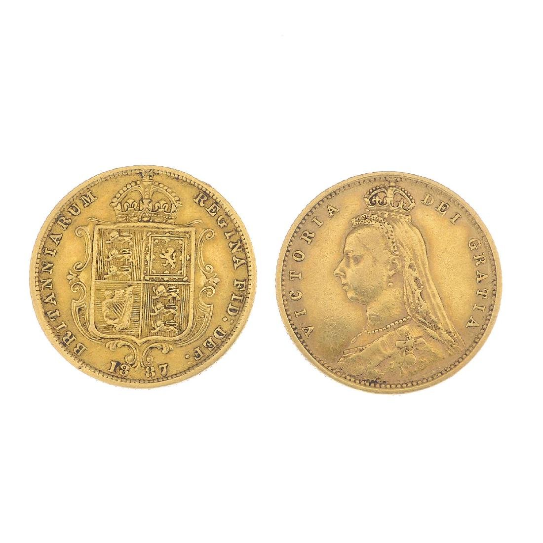 (22479) Two half sovereign coins. Dated 1887 and 1892.