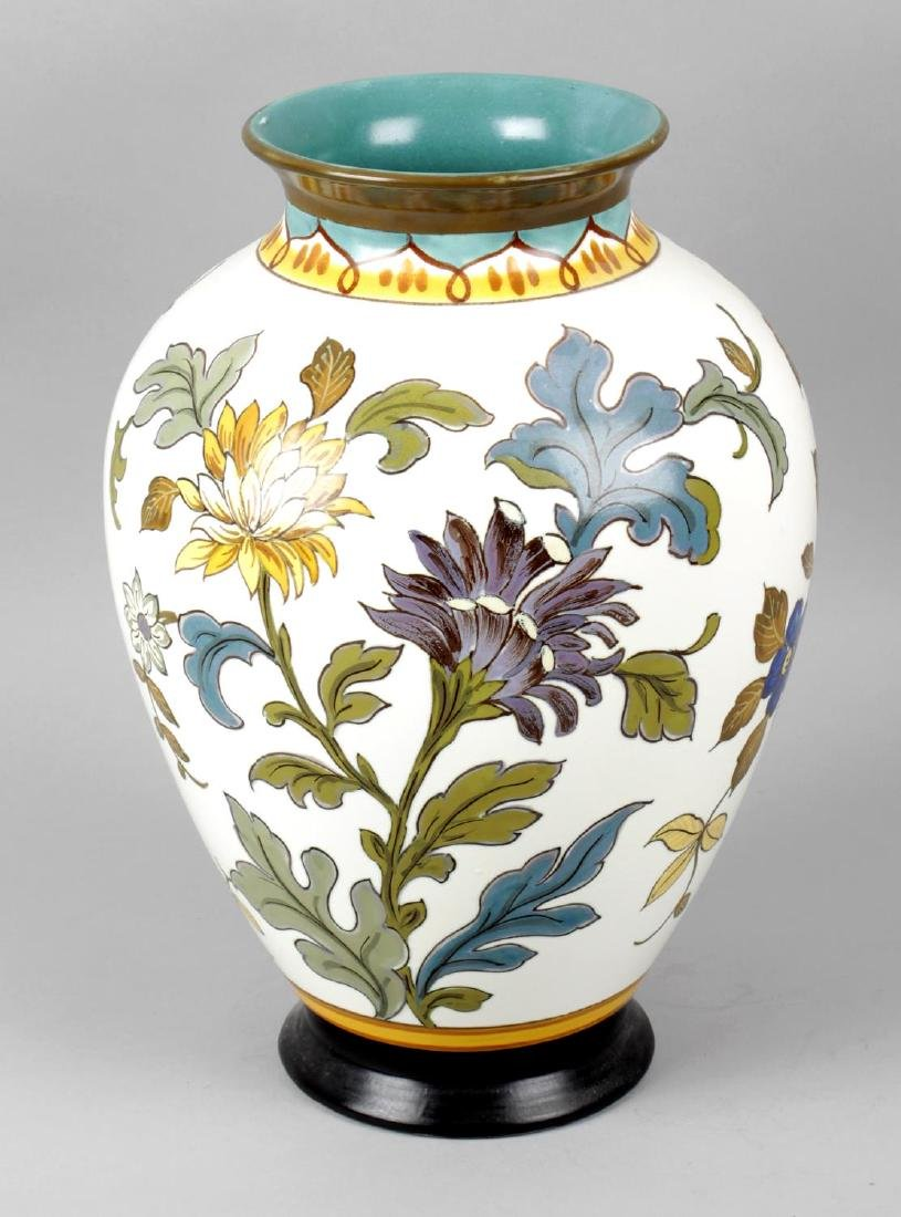 A large Gouda pottery vase of tapered ovoid form, the