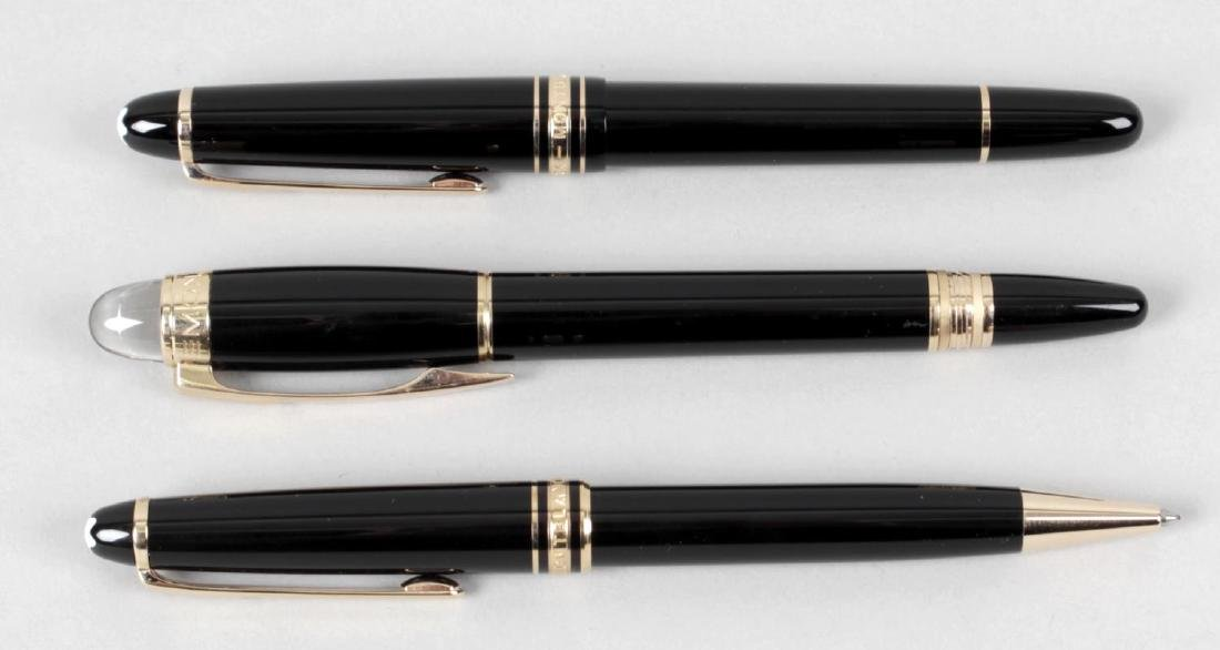 Three Montblanc pens, comprising two fountain pens, the