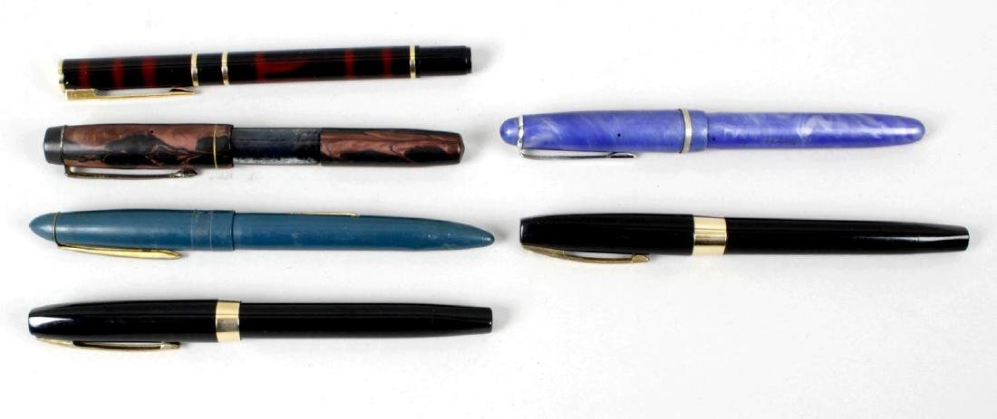 A group of six assorted fountain pens, to include