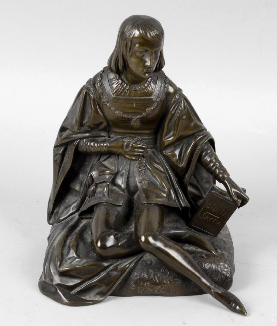 A 19th century bronze figure modelled as Jesus,