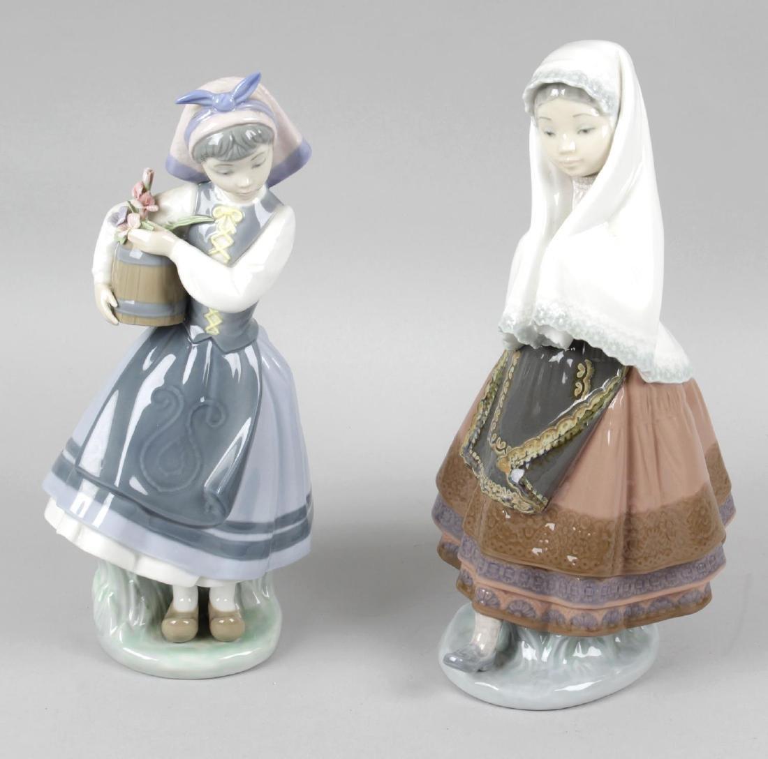Three Lladro figurines, Royal Doulton character jug,