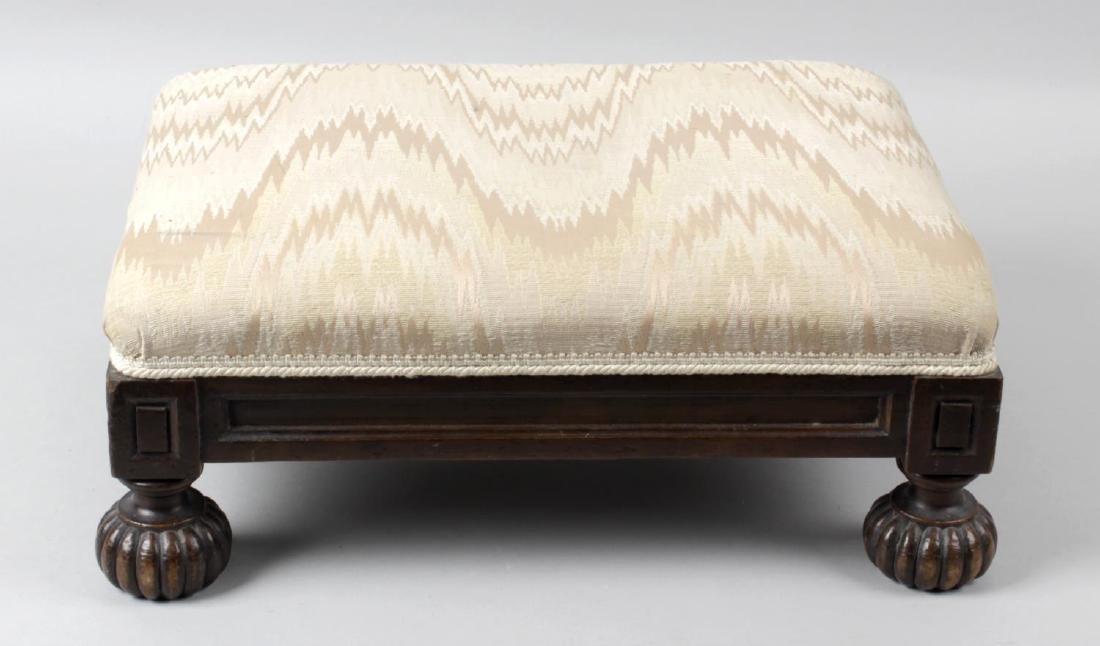 A Victorian mahogany framed foot stool, with