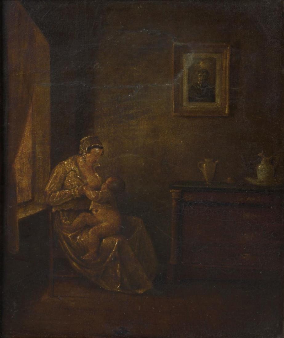 A framed 19th century oil on board, Dutch School,