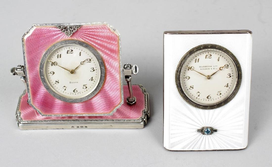 An Art Deco silver and enamelled dressing table clock,