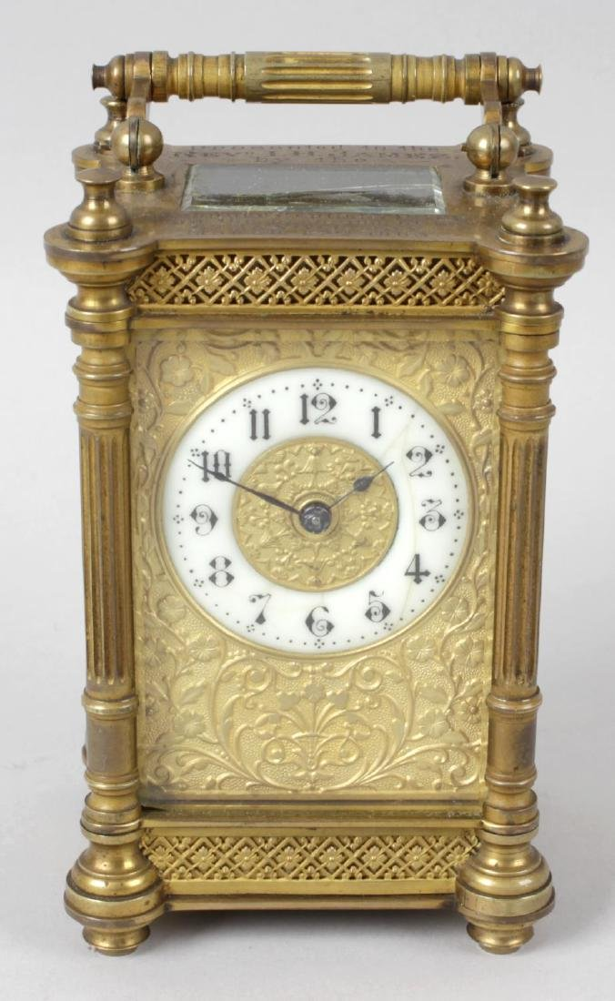 An early 20th century brass cased carriage clock, the