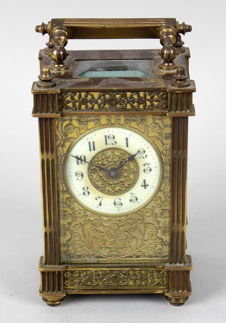 An early 20th century gilt metal cased carriage clock,