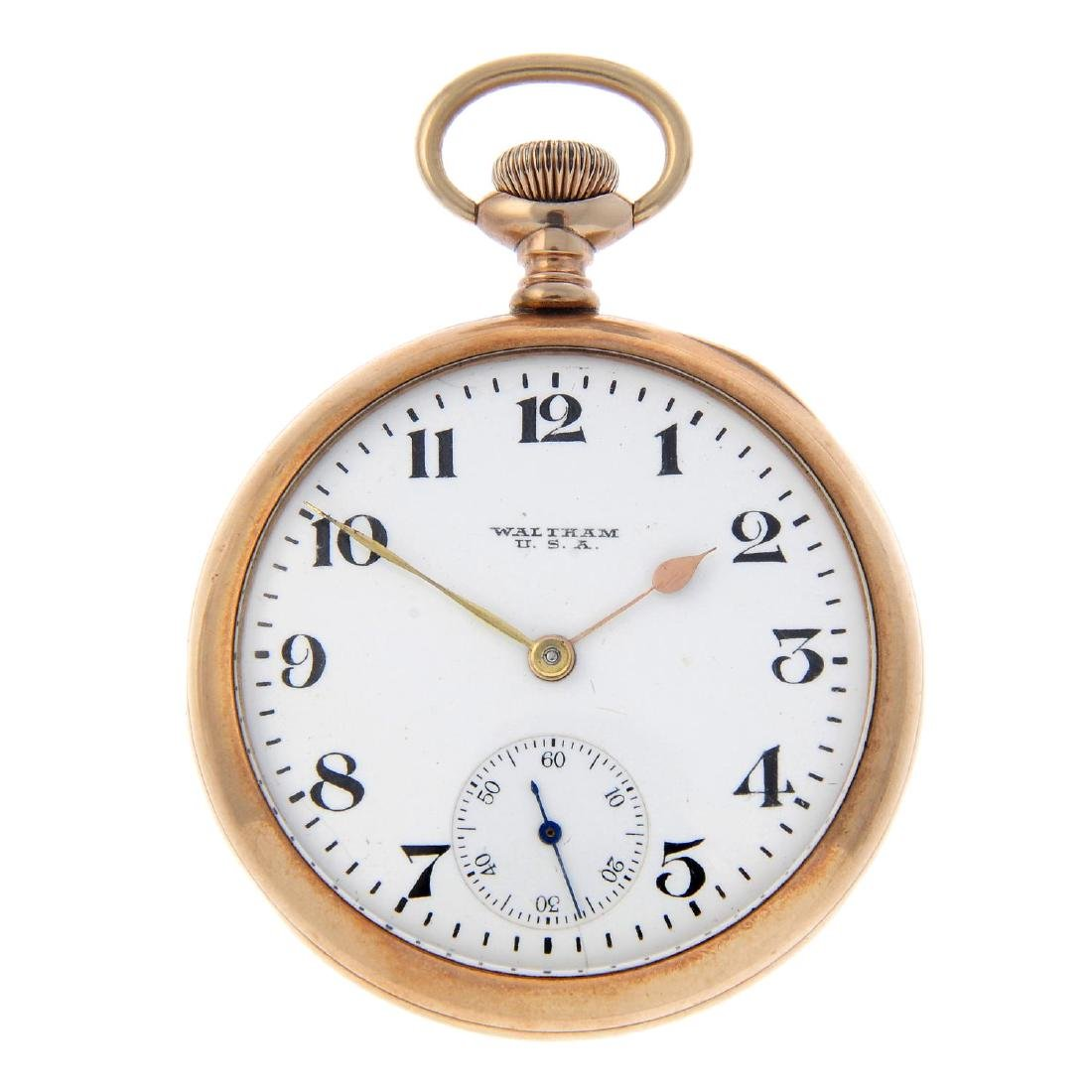 An open face pocket watch by Waltham. 9ct yellow gold
