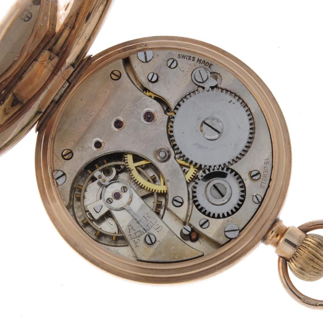 An open face pocket watch. 9ct yellow gold case with - 3