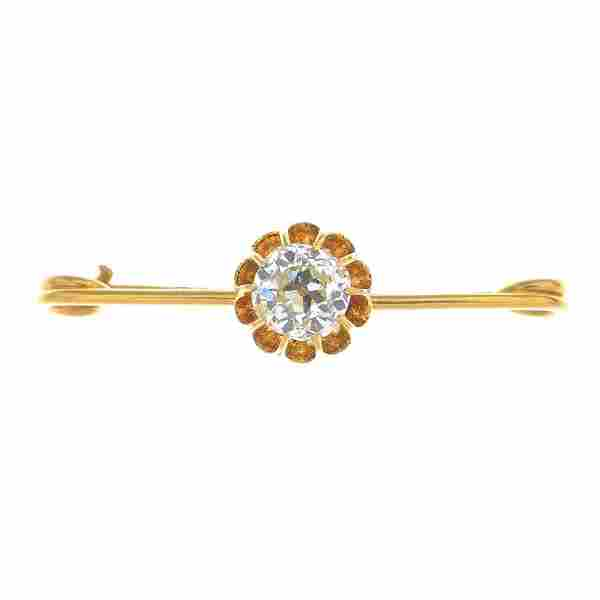 An early 20th century 15ct gold diamond single-stone