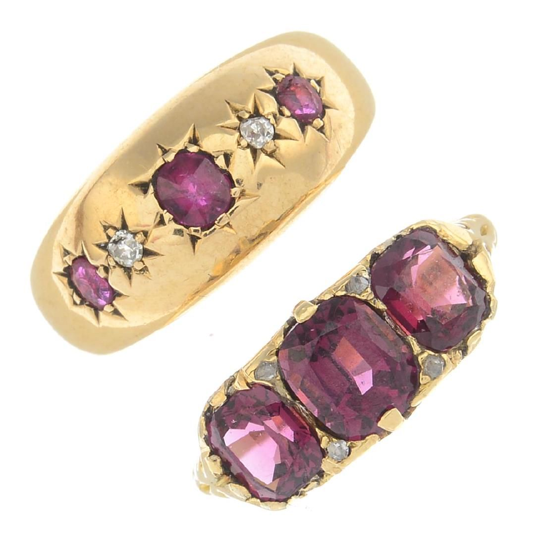 Two diamond and gem-set rings. To include an Edwardian