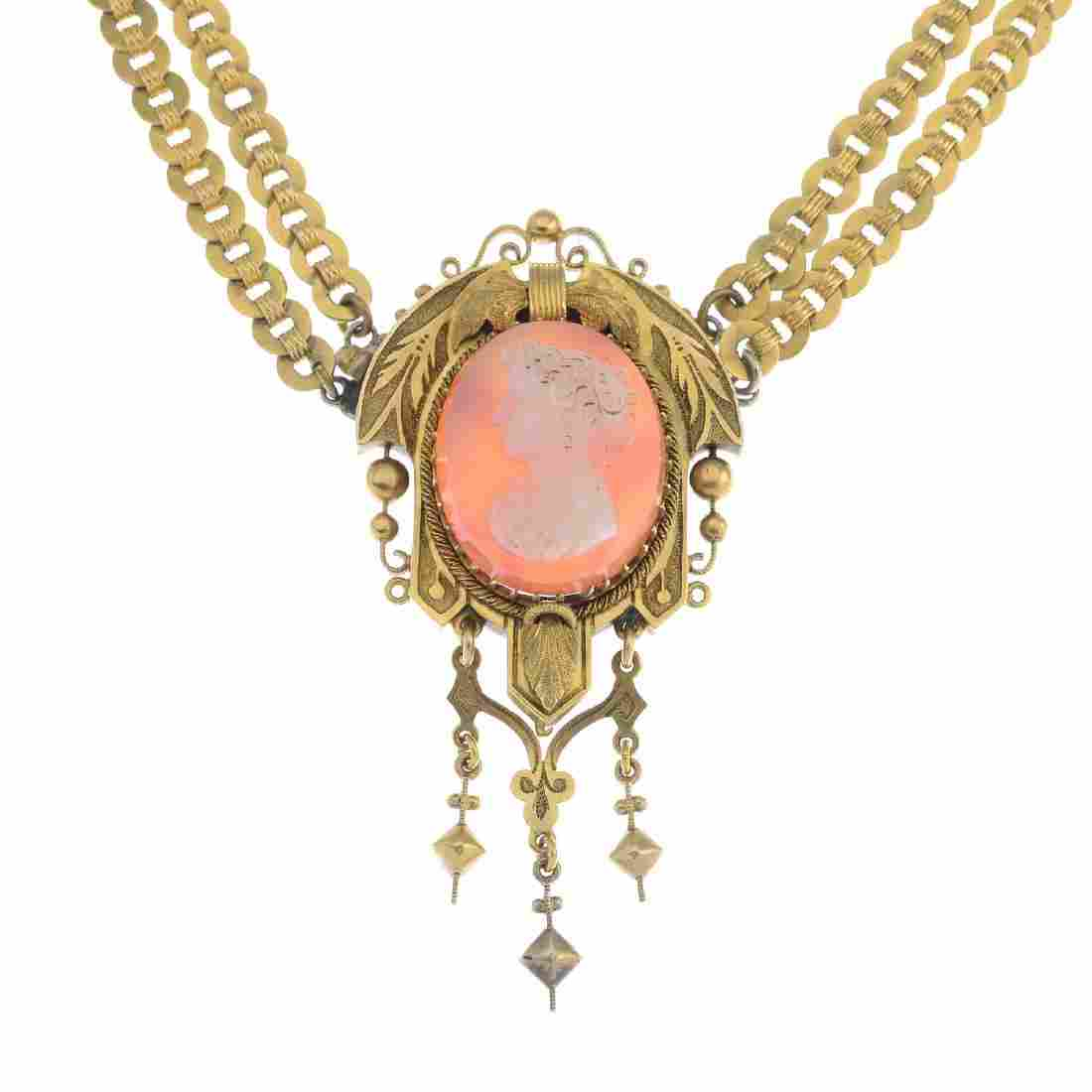 A late Victorian gold hardstone cameo necklace. The