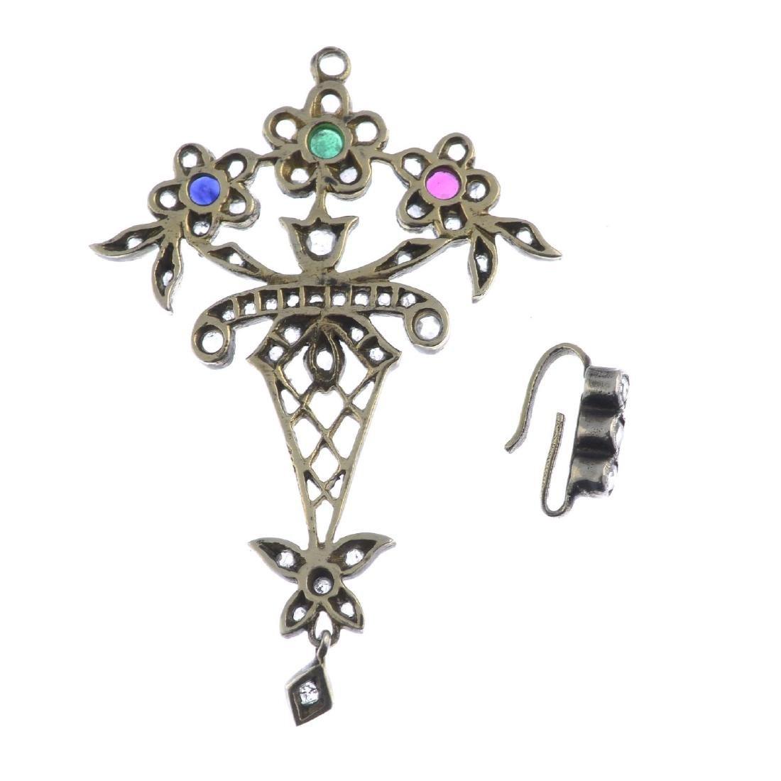 A diamond and gem-set pendant. Designed as a stylised - 2