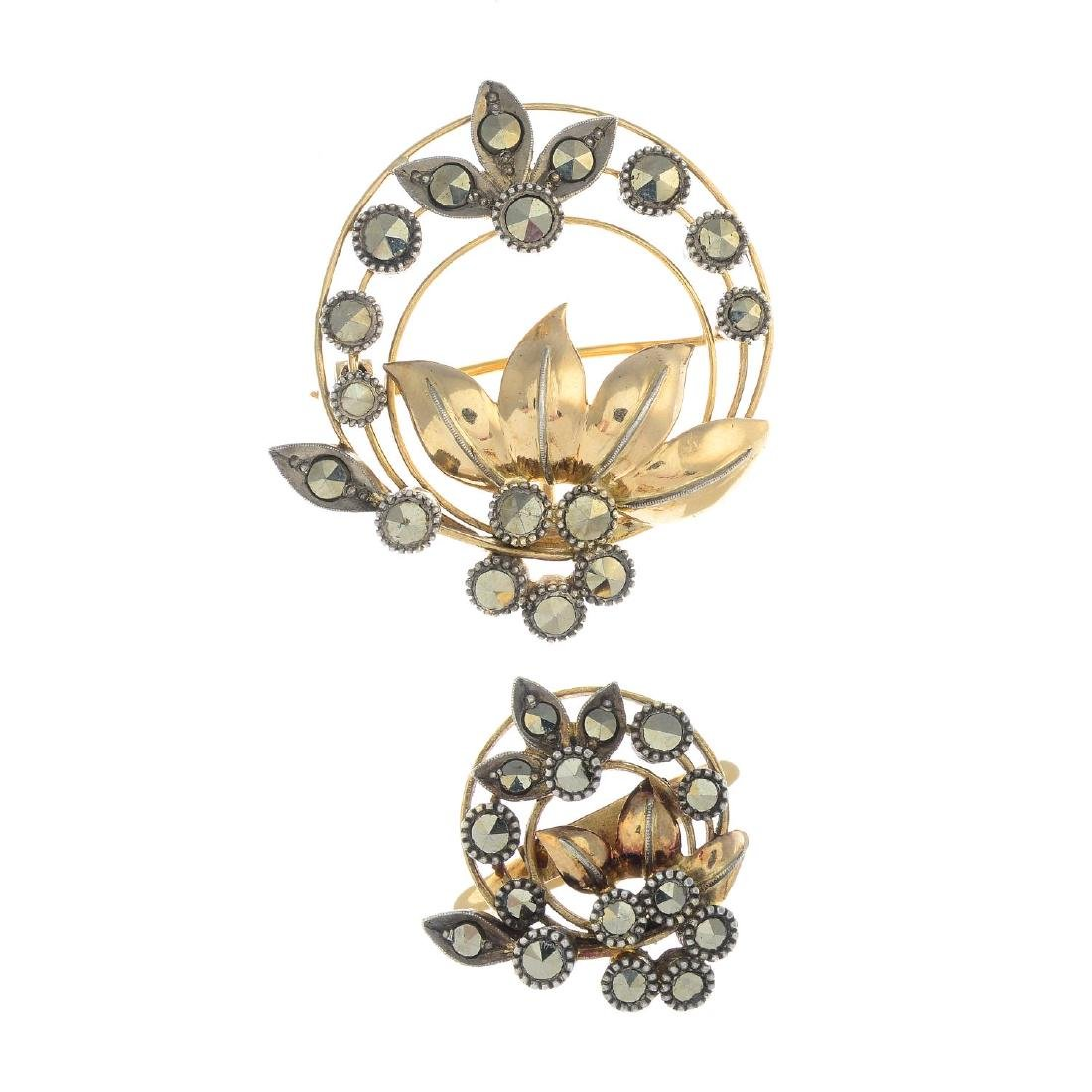 An mid 20th century gold and silver marcasite jewellery