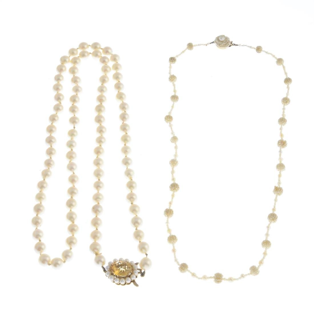 Two pearl necklaces. The first designed as a series of - 2