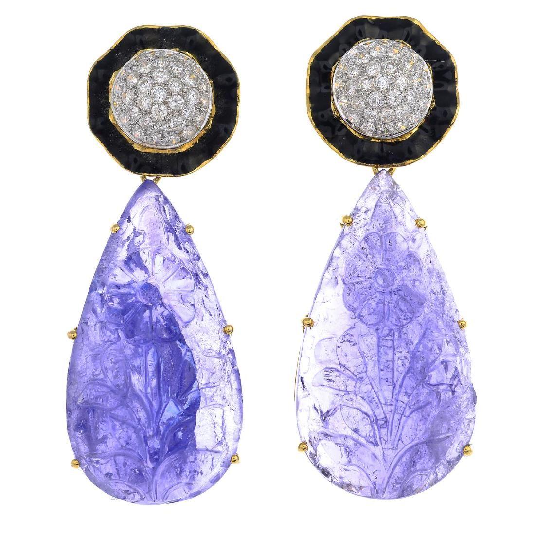 A pair of tanzanite, enamel and diamond cluster