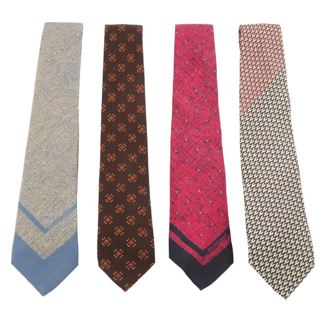 BALENCIAGA - six ties. To include a dark grey silk tie