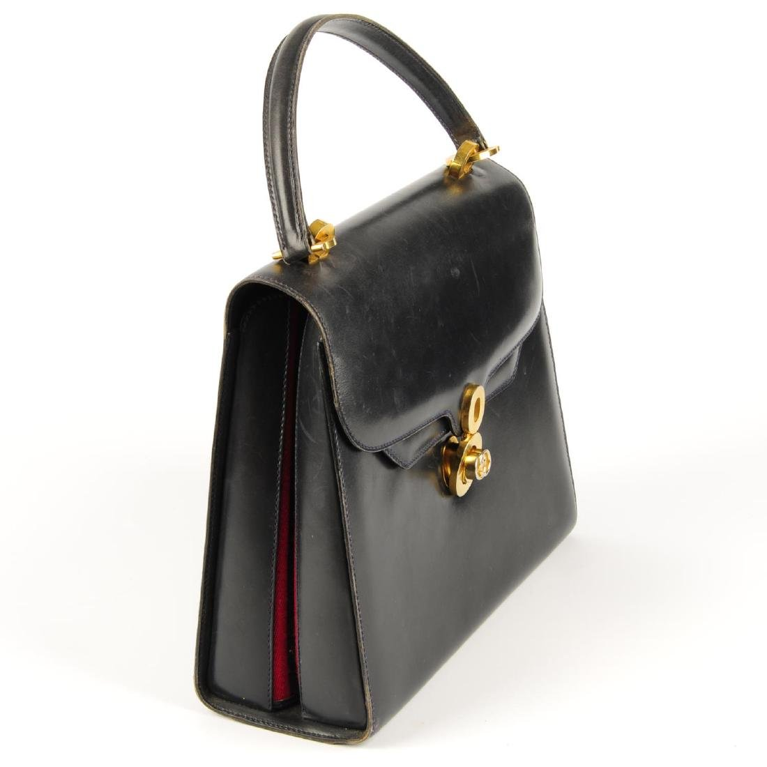 GUCCI - a vintage leather box handbag. Designed with a - 3