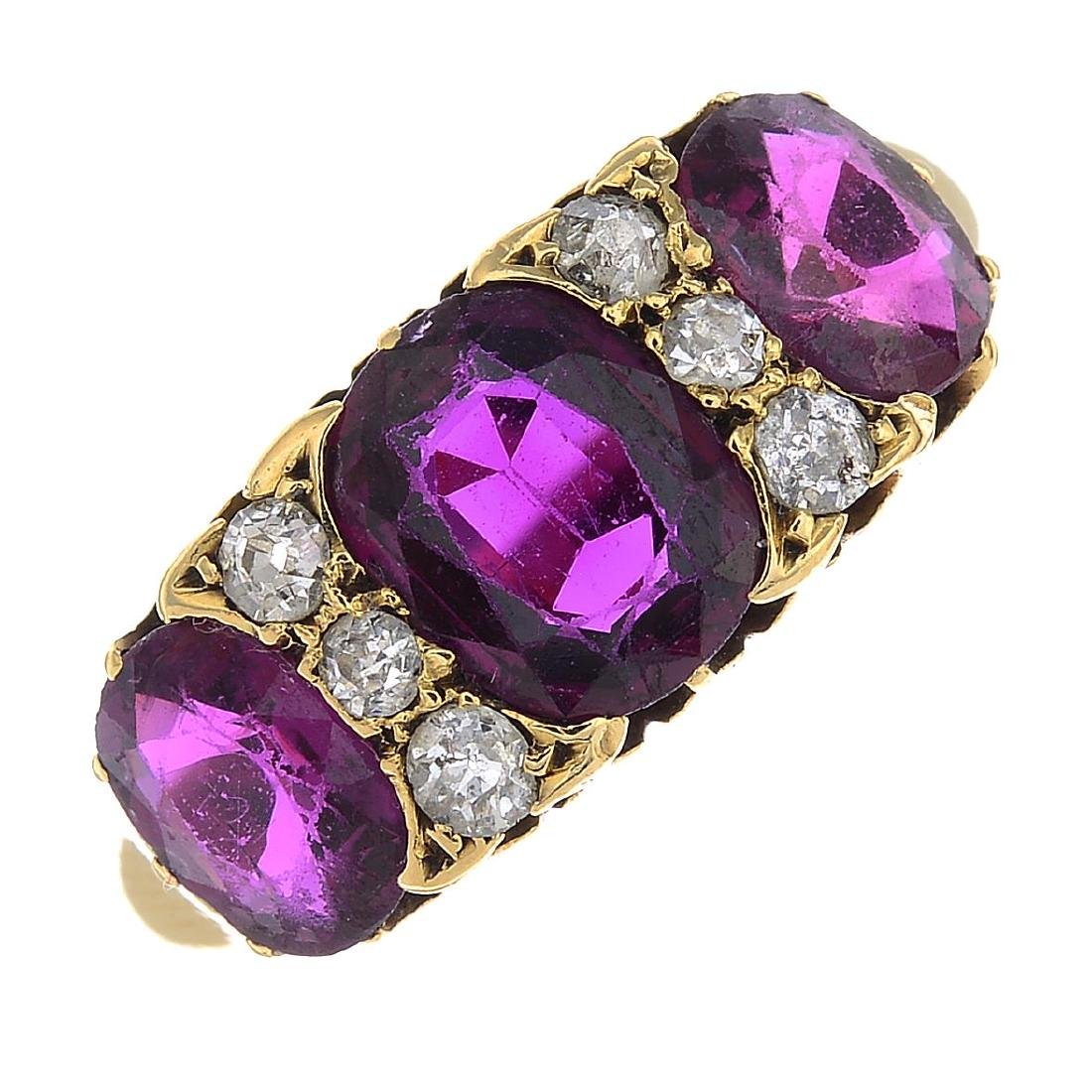A late Victorian 18ct gold Thai ruby three-stone and
