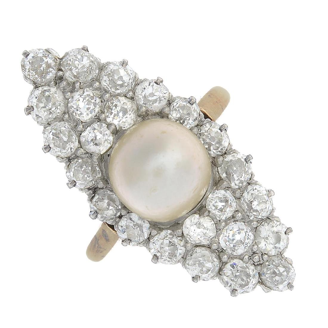 An early 20th century 18ct gold natural pearl and