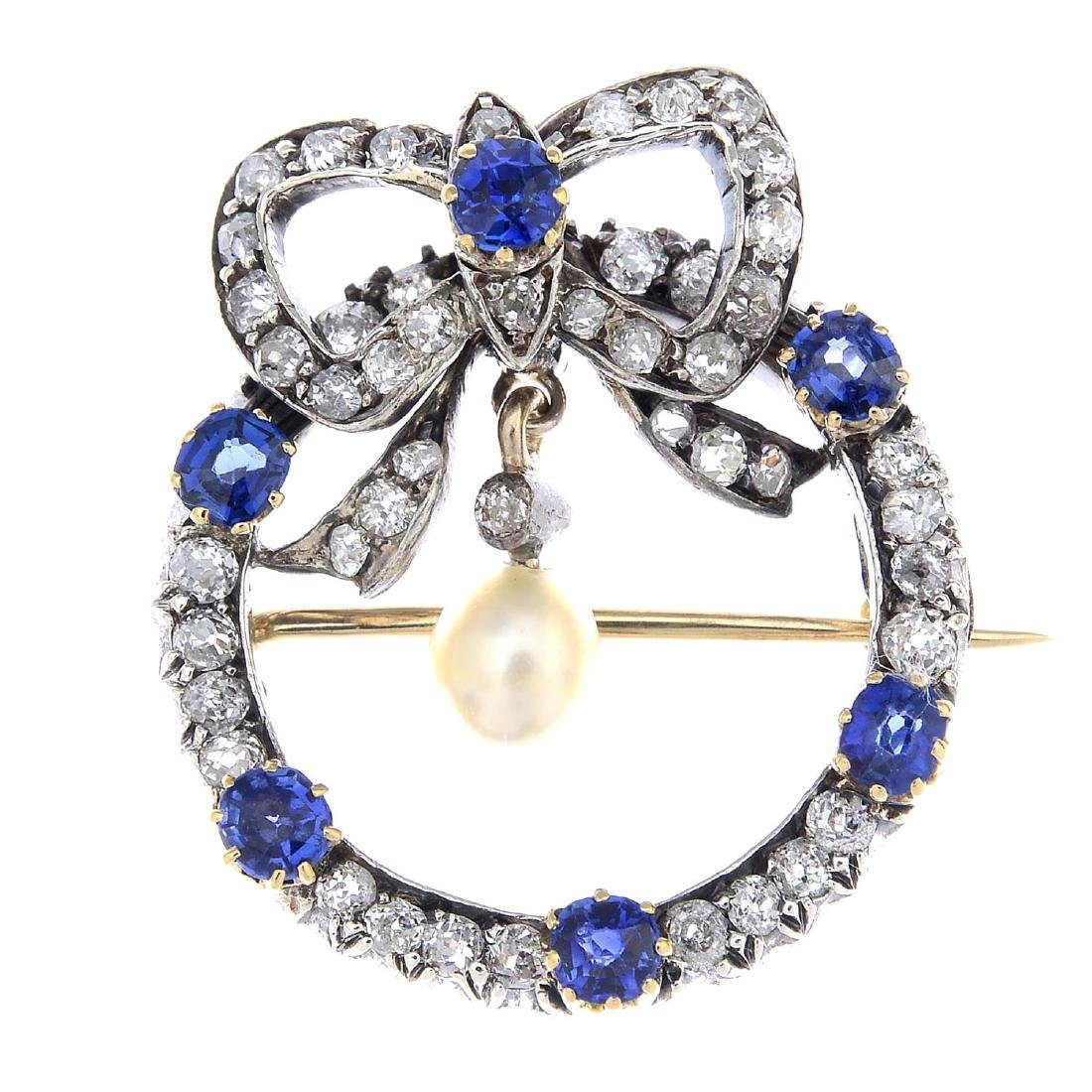 A late Victorian silver and gold, sapphire, diamond and