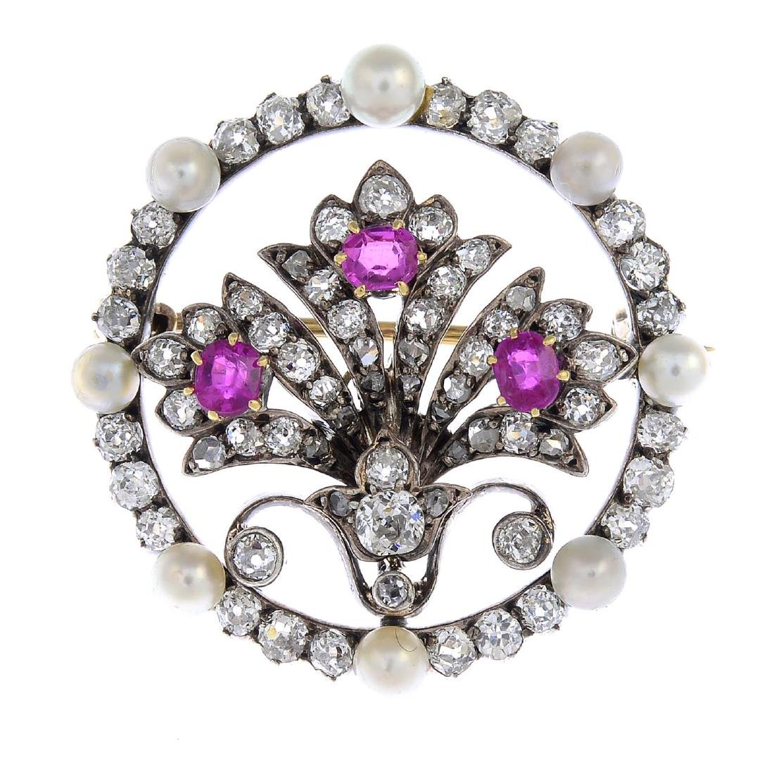 A late Victorian silver and gold, diamond and gem-set